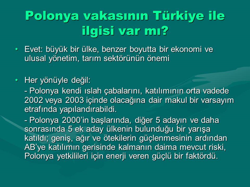 Polonya vakasının Türkiye ile ilgisi var mı? Evet: büyük bir ülke, benzer boyutta bir ekonomi ve ulusal yönetim, tarım sektörünün önemiEvet: büyük bir