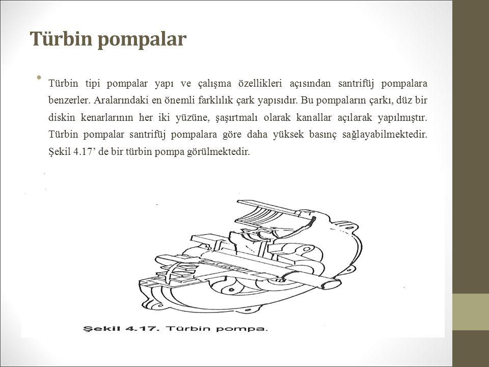 Türbin pompalar Türbin tipi pompalar yapı ve çalışma özellikleri açısından santrifüj pompalara benzerler.
