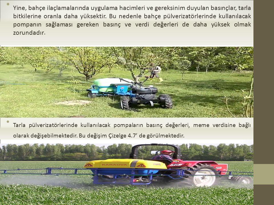 Yine, bahçe ilaçlamalarında uygulama hacimleri ve gereksinim duyulan basınçlar, tarla bitkilerine oranla daha yüksektir.