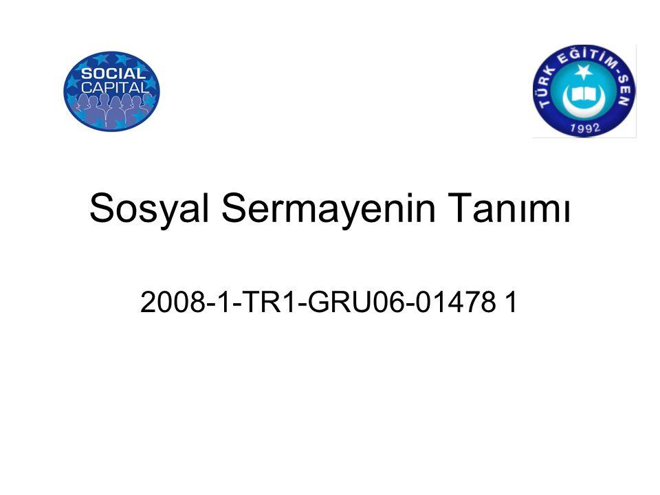 Sosyal Sermayenin Tanımı 2008-1-TR1-GRU06-01478 1