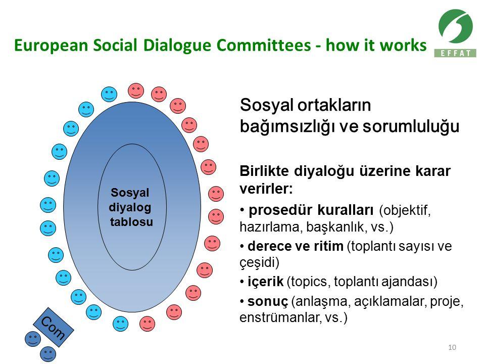 10 European Social Dialogue Committees - how it works Sosyal diyalog tablosu Com Birlikte diyaloğu üzerine karar verirler: prosedür kuralları (objektif, hazırlama, başkanlık, vs.) derece ve ritim (toplantı sayısı ve çeşidi) içerik (topics, toplantı ajandası) sonuç (anlaşma, açıklamalar, proje, enstrümanlar, vs.) Sosyal ortakların bağımsızlığı ve sorumluluğu