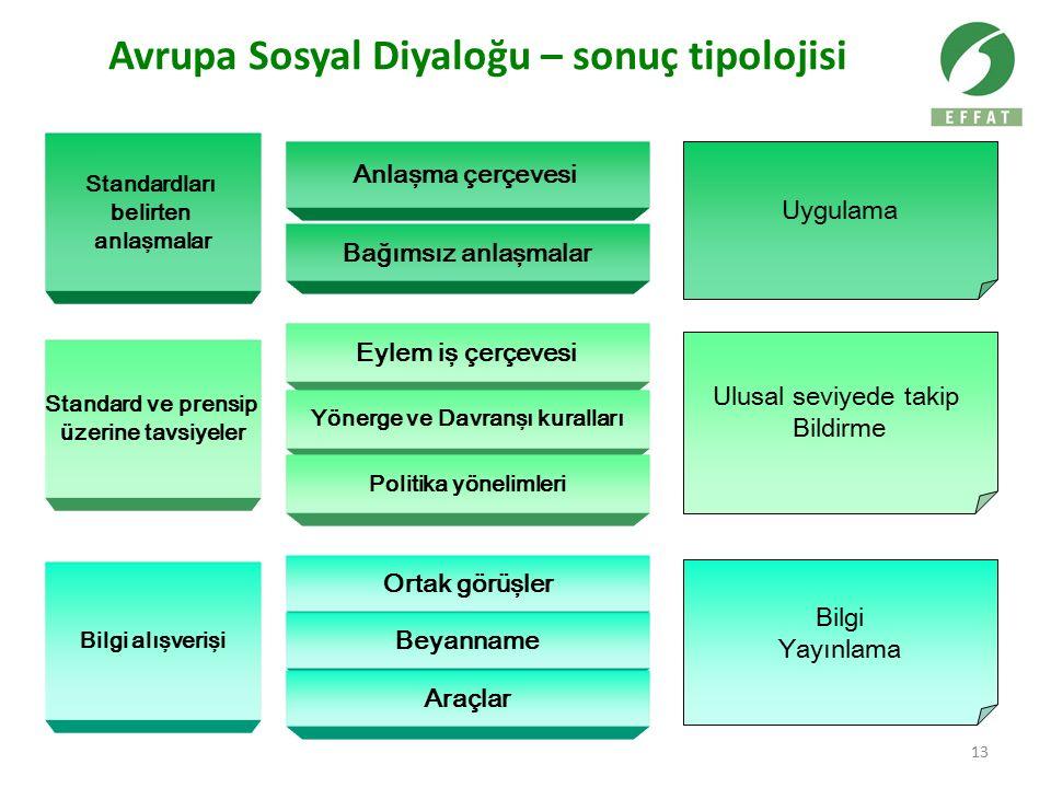 13 Avrupa Sosyal Diyaloğu – sonuç tipolojisi Standardları belirten anlaşmalar Standard ve prensip üzerine tavsiyeler Bilgi alışverişi Anlaşma çerçeves