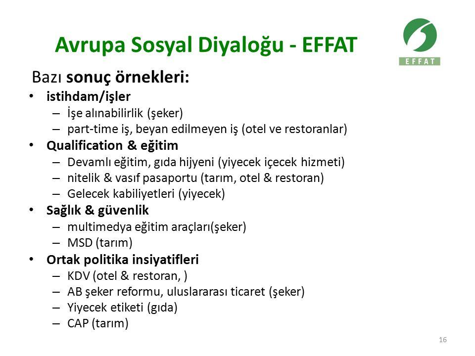 Avrupa Sosyal Diyaloğu - EFFAT Bazı sonuç örnekleri: istihdam/işler – İşe alınabilirlik (şeker) – part-time iş, beyan edilmeyen iş (otel ve restoranla