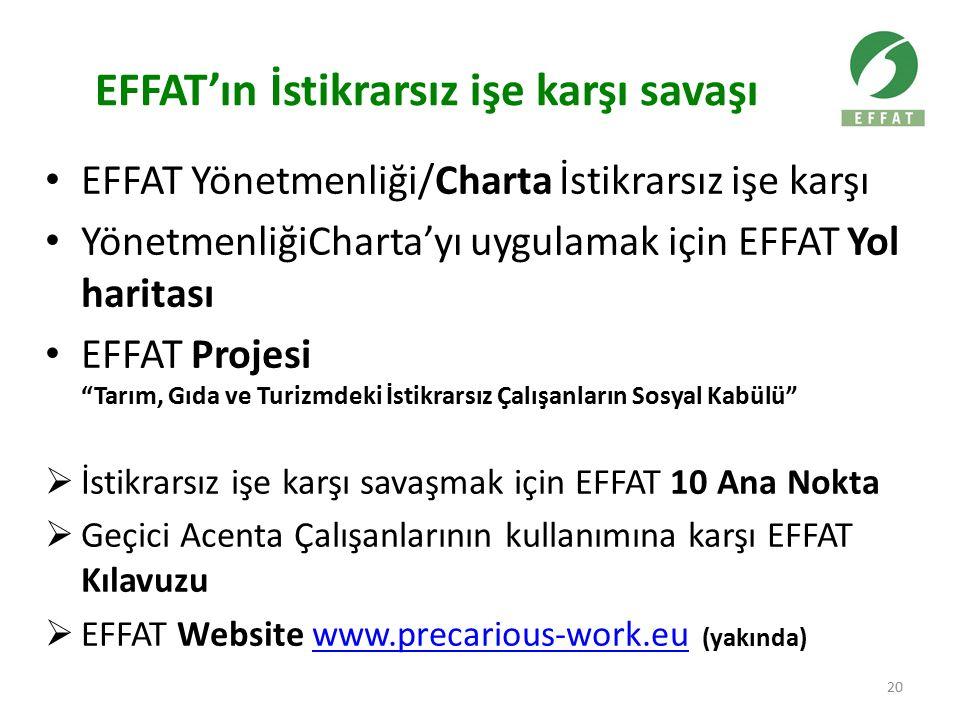 EFFAT'ın İstikrarsız işe karşı savaşı EFFAT Yönetmenliği/Charta İstikrarsız işe karşı YönetmenliğiCharta'yı uygulamak için EFFAT Yol haritası EFFAT Projesi Tarım, Gıda ve Turizmdeki İstikrarsız Çalışanların Sosyal Kabülü  İstikrarsız işe karşı savaşmak için EFFAT 10 Ana Nokta  Geçici Acenta Çalışanlarının kullanımına karşı EFFAT Kılavuzu  EFFAT Website www.precarious-work.eu (yakında)www.precarious-work.eu 20