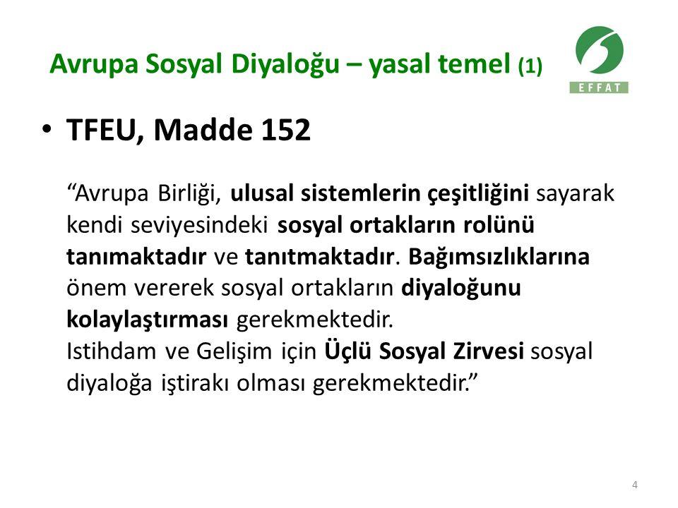 """Avrupa Sosyal Diyaloğu – yasal temel (1) TFEU, Madde 152 """"Avrupa Birliği, ulusal sistemlerin çeşitliğini sayarak kendi seviyesindeki sosyal ortakların"""
