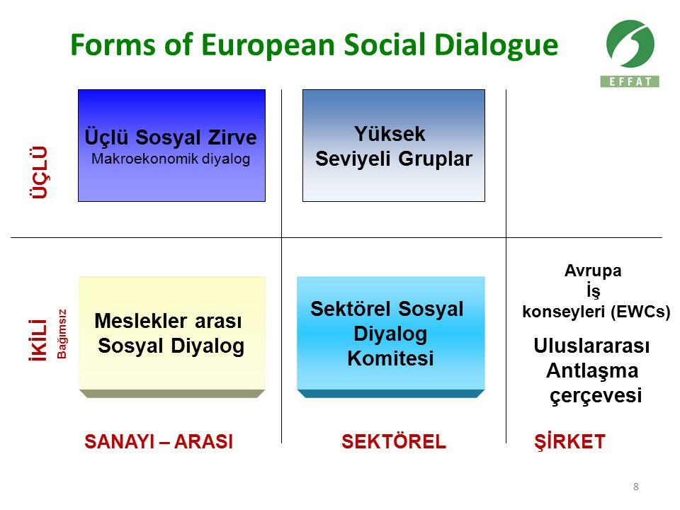 8 Forms of European Social Dialogue Meslekler arası Sosyal Diyalog Sektörel Sosyal Diyalog Komitesi ÜÇLÜ İKİLİ Avrupa İş konseyleri (EWCs) Uluslararası Antlaşma çerçevesi Üçlü Sosyal Zirve Makroekonomik diyalog SANAYI – ARASISEKTÖRELŞİRKET Bağımsız Yüksek Seviyeli Gruplar