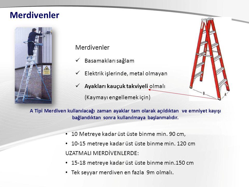 Merdivenler Basamakları sağlam Elektrik işlerinde, metal olmayan Ayakları kauçuk takviyeli olmalı (Kaymayı engellemek için) A Tipi Merdiven kullanılacağı zaman ayaklar tam olarak açıldıktan ve emniyet kayışı bağlandıktan sonra kullanılmaya başlanmalıdır.