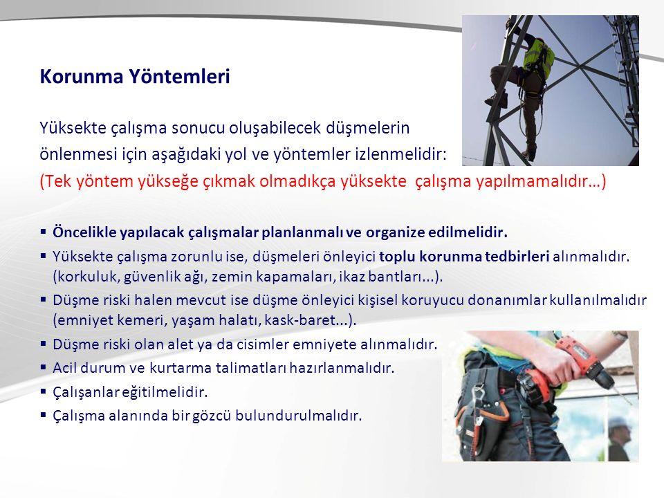 Düşmeyi Durdurucu ve Önleyici Sistemler: 1- Güvenli Korkuluklar 2- Kapamalar 3- Güvenlik ağları 4- İkaz bantları, bariyerler 5- Mobil çalışma platformları 6- Hava yastıkları 7- Kişisel Koruyucu Sistemler (Aktif sistemler) Yüksekte Çalışmada Korunma Yöntemleri Pasif sistemler