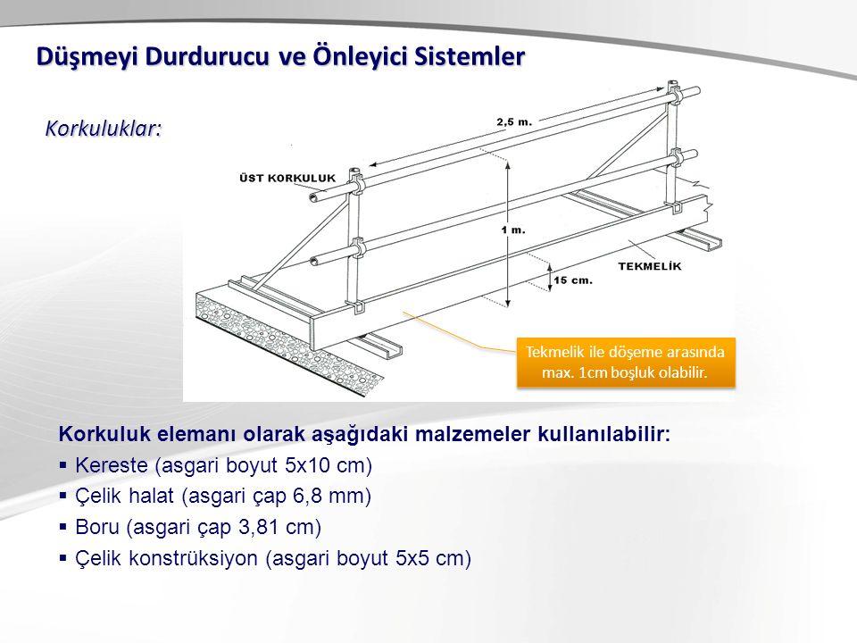 Korkuluklar: Düşmeyi Durdurucu ve Önleyici Sistemler Korkuluk elemanı olarak aşağıdaki malzemeler kullanılabilir:  Kereste (asgari boyut 5x10 cm)  Çelik halat (asgari çap 6,8 mm)  Boru (asgari çap 3,81 cm)  Çelik konstrüksiyon (asgari boyut 5x5 cm) Tekmelik ile döşeme arasında max.