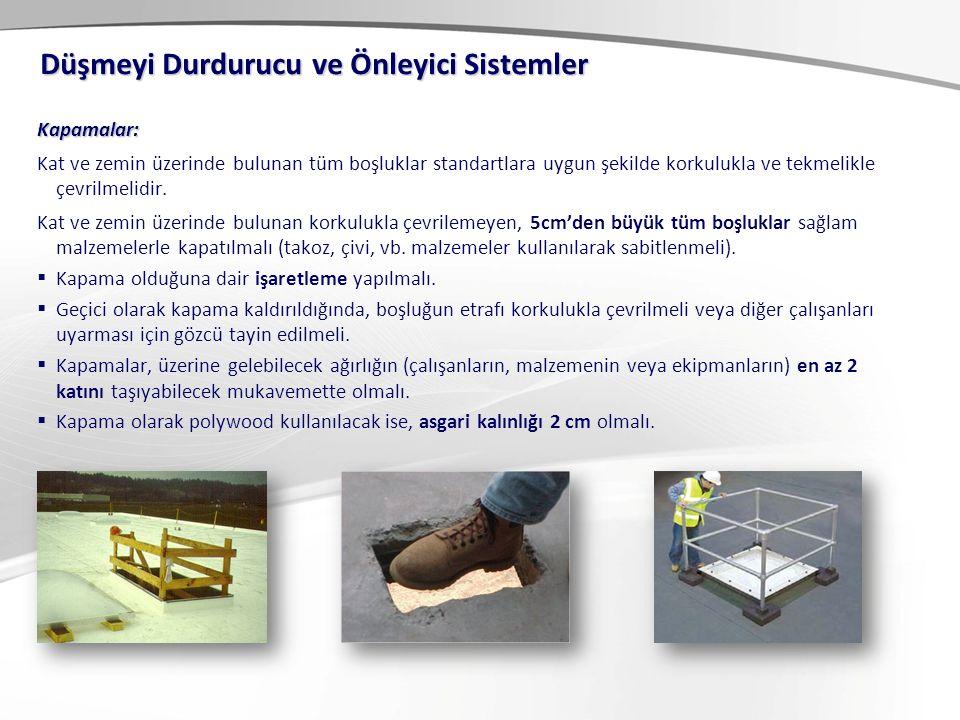 Kişisel Koruyucu Sistemler: C- İple Erişim Sistemi Bu sistemi oluşturan donanımlar ise: -Paraşüt tipi emniyet kemeri -Statik halat -Karabina ve kanca -Mobil düşme koruyucu sistem -Otomatik kilitlemeli iniş-çıkış aparatı -Diğer standart KKD'ler.