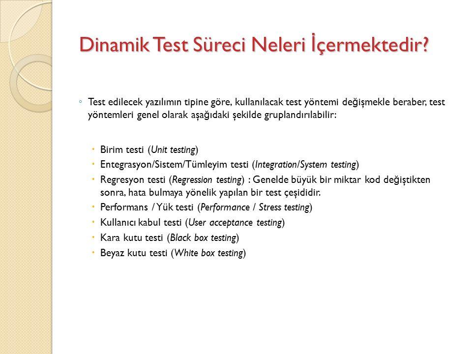 Dinamik Test Süreci Neleri İ çermektedir.
