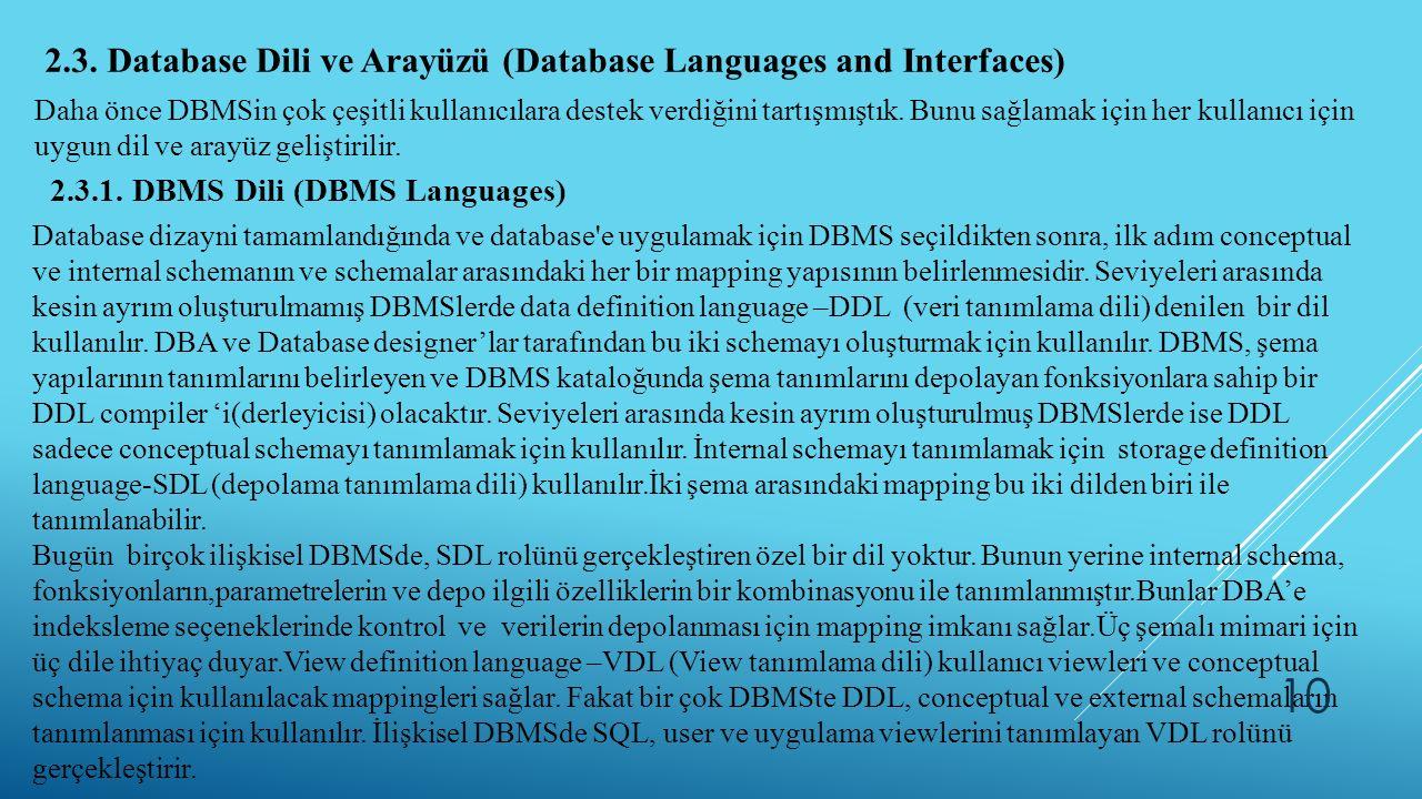 2.3. Database Dili ve Arayüzü (Database Languages and Interfaces) Daha önce DBMSin çok çeşitli kullanıcılara destek verdiğini tartışmıştık. Bunu sağla