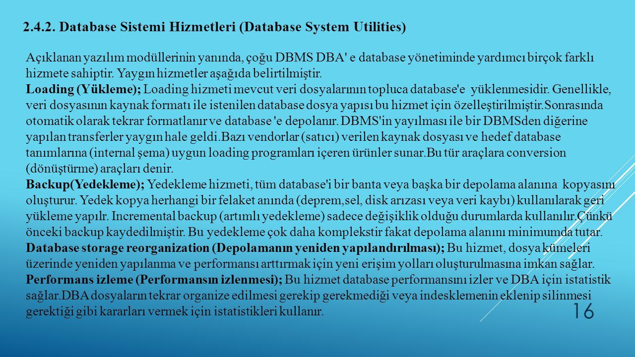2.4.2. Database Sistemi Hizmetleri (Database System Utilities) Açıklanan yazılım modüllerinin yanında, çoğu DBMS DBA' e database yönetiminde yardımcı