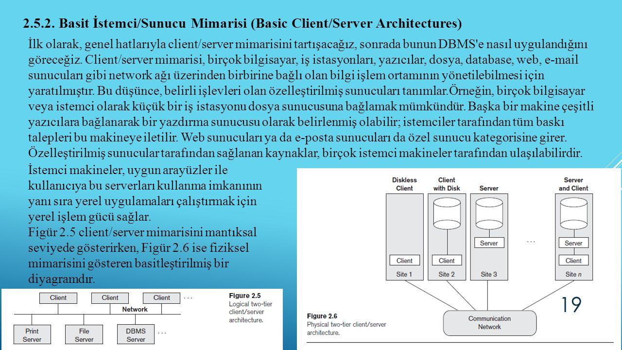 2.5.2. Basit İstemci/Sunucu Mimarisi (Basic Client/Server Architectures) İlk olarak, genel hatlarıyla client/server mimarisini tartışacağız, sonrada b