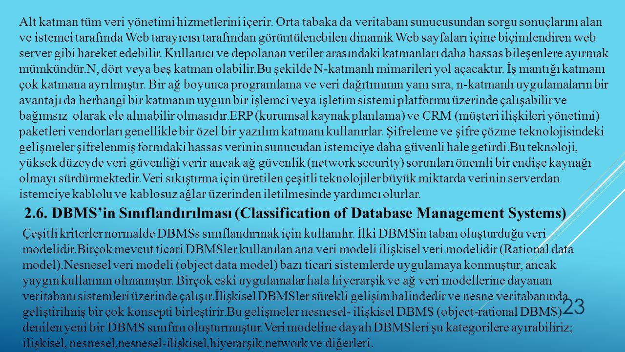 Alt katman tüm veri yönetimi hizmetlerini içerir. Orta tabaka da veritabanı sunucusundan sorgu sonuçlarını alan ve istemci tarafında Web tarayıcısı ta