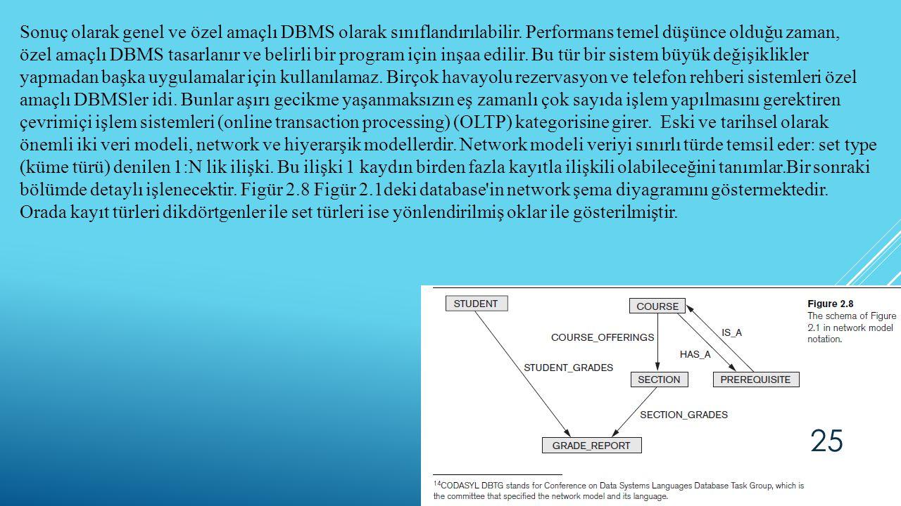 Sonuç olarak genel ve özel amaçlı DBMS olarak sınıflandırılabilir. Performans temel düşünce olduğu zaman, özel amaçlı DBMS tasarlanır ve belirli bir p