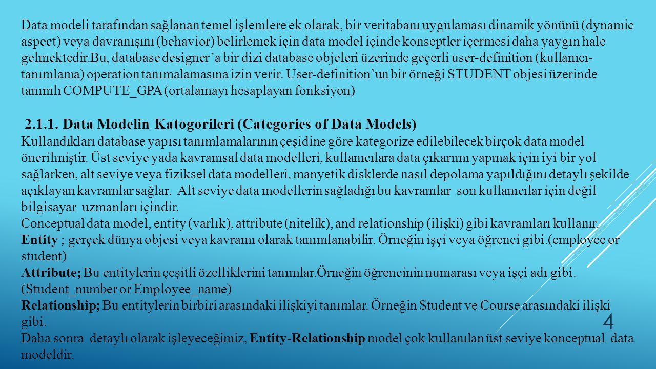Data modeli tarafından sağlanan temel işlemlere ek olarak, bir veritabanı uygulaması dinamik yönünü (dynamic aspect) veya davranışını (behavior) belir