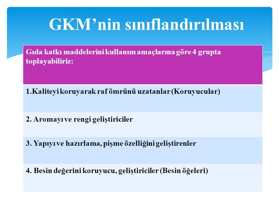 GKM'nin sınıflandırılması Gıda katkı maddelerini kullanım amaçlarına göre 4 grupta toplayabiliriz: 1.Kaliteyi koruyarak raf ömrünü uzatanlar (Koruyucular) 2.