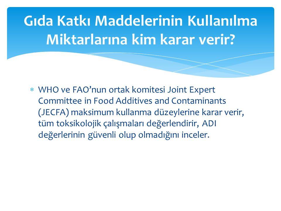  WHO ve FAO'nun ortak komitesi Joint Expert Committee in Food Additives and Contaminants (JECFA) maksimum kullanma düzeylerine karar verir, tüm toksikolojik çalışmaları değerlendirir, ADI değerlerinin güvenli olup olmadığını inceler.