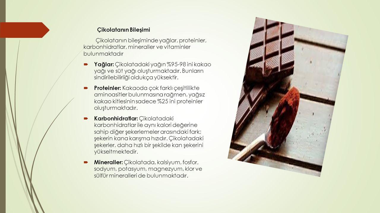 Çikolatanın Bileşimi Çikolatanın bileşiminde yağlar, proteinler, karbonhidratlar, mineraller ve vitaminler bulunmaktadır  Yağlar: Çikolatadaki yağın %95-98 ini kakao yağı ve süt yağı oluşturmaktadır.