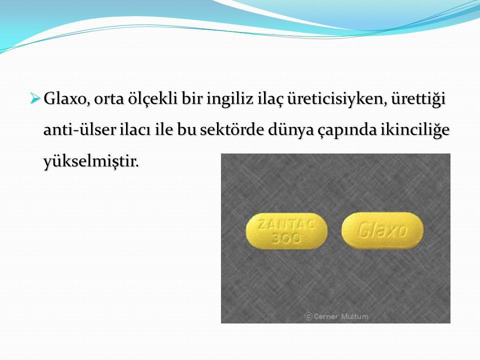  Glaxo, orta ölçekli bir ingiliz ilaç üreticisiyken, ürettiği anti-ülser ilacı ile bu sektörde dünya çapında ikinciliğe yükselmiştir.