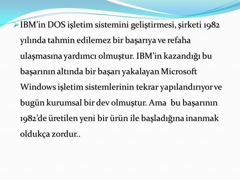  IBM'in DOS işletim sistemini geliştirmesi, şirketi 1982 yılında tahmin edilemez bir başarıya ve refaha ulaşmasına yardımcı olmuştur.