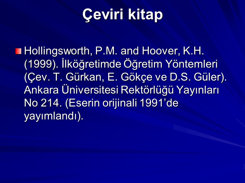 Çeviri kitap Hollingsworth, P.M. and Hoover, K.H.