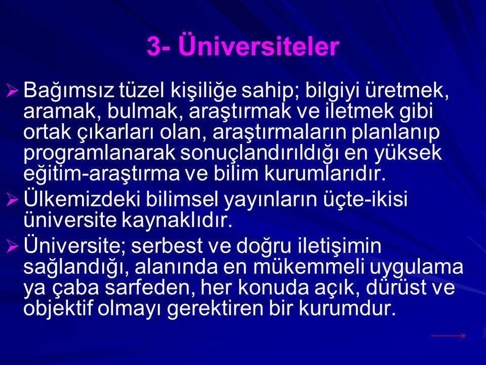 3- Üniversiteler   Bağımsız tüzel kişiliğe sahip; bilgiyi üretmek, aramak, bulmak, araştırmak ve iletmek gibi ortak çıkarları olan, araştırmaların p