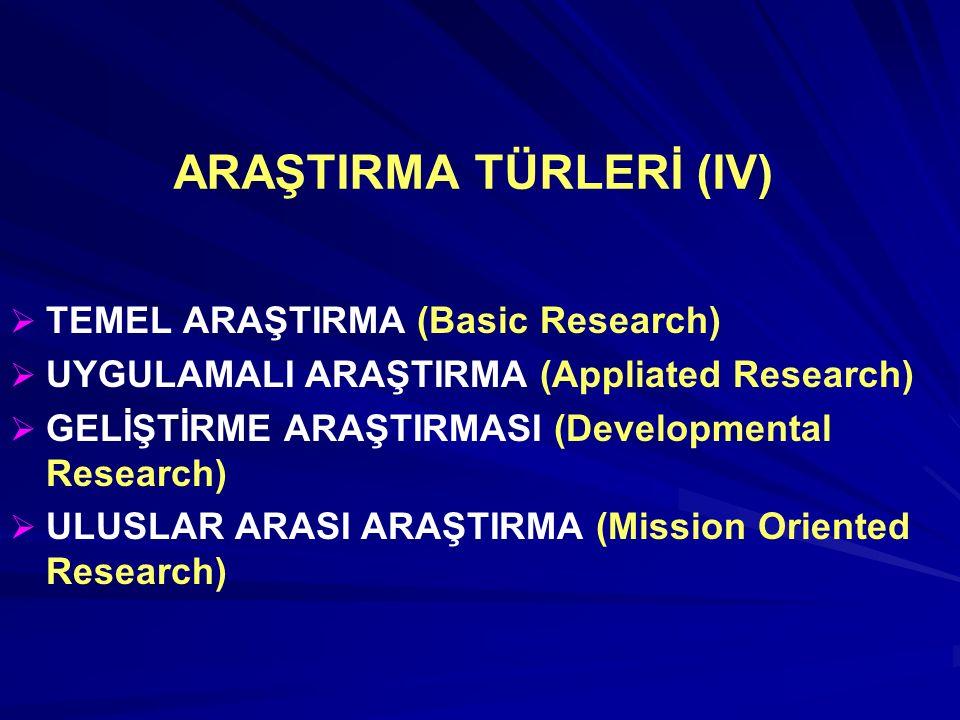ARAŞTIRMA TÜRLERİ (IV)   TEMEL ARAŞTIRMA (Basic Research)   UYGULAMALI ARAŞTIRMA (Appliated Research)   GELİŞTİRME ARAŞTIRMASI (Developmental Research)   ULUSLAR ARASI ARAŞTIRMA (Mission Oriented Research)
