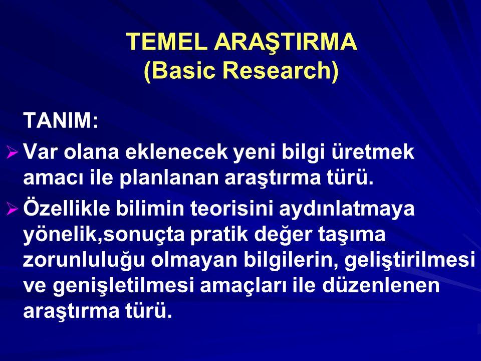 TEMEL ARAŞTIRMA (Basic Research) TANIM:   Var olana eklenecek yeni bilgi üretmek amacı ile planlanan araştırma türü.   Özellikle bilimin teorisini