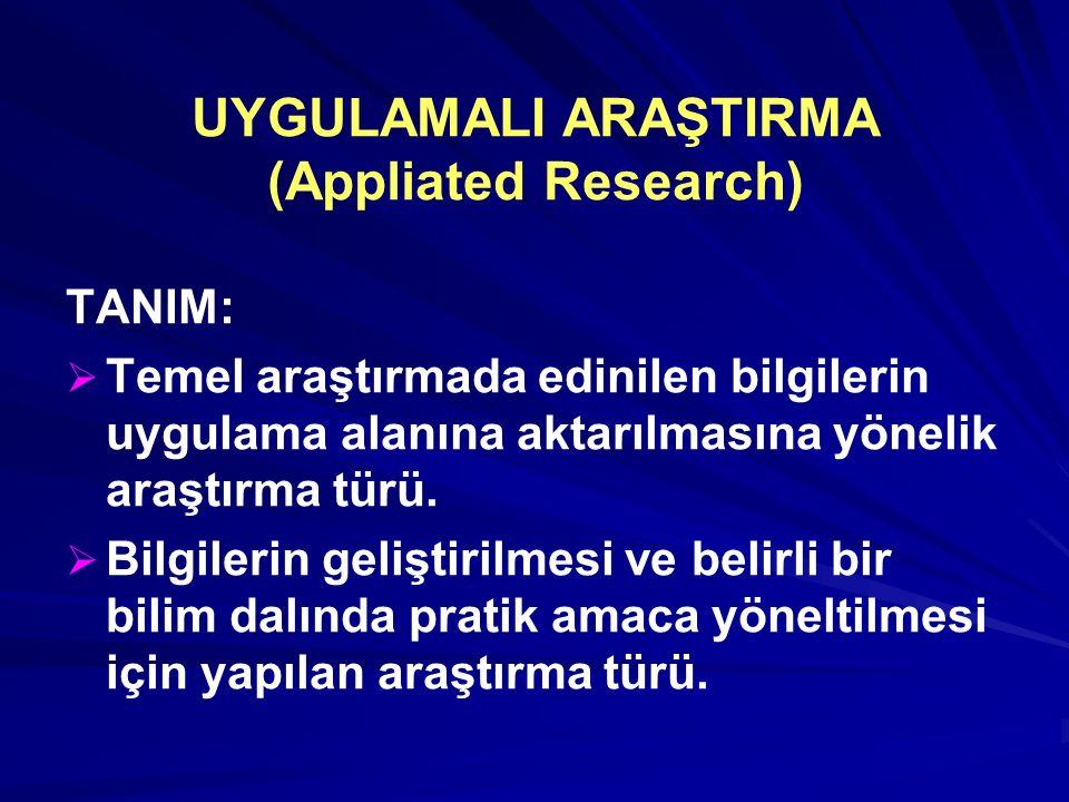 UYGULAMALI ARAŞTIRMA (Appliated Research) TANIM:   Temel araştırmada edinilen bilgilerin uygulama alanına aktarılmasına yönelik araştırma türü.