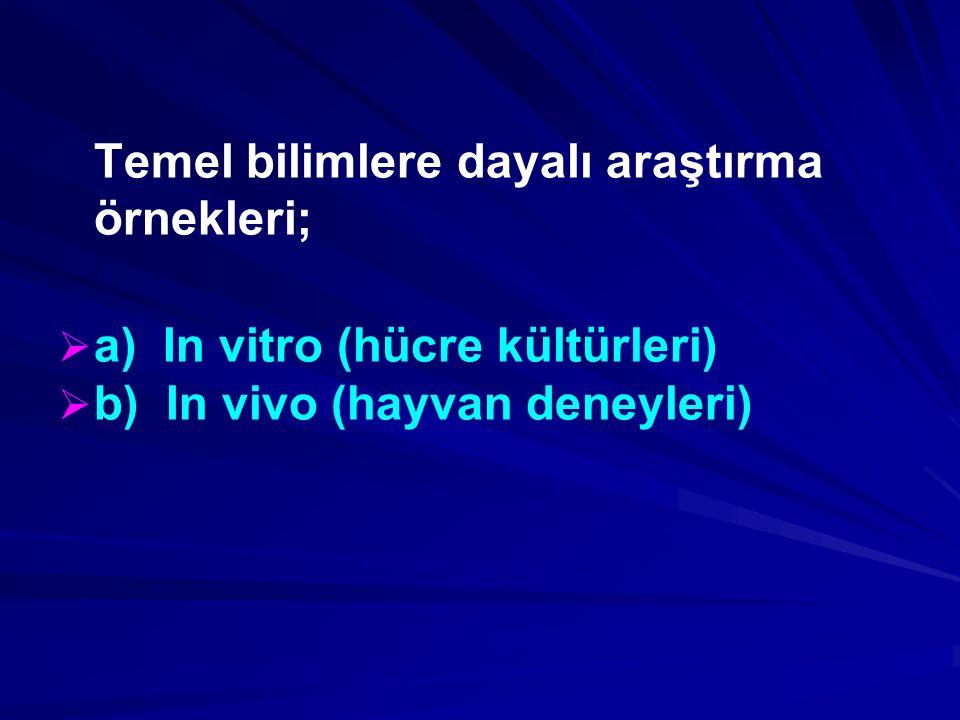 Temel bilimlere dayalı araştırma örnekleri;   a) In vitro (hücre kültürleri)   b) In vivo (hayvan deneyleri)