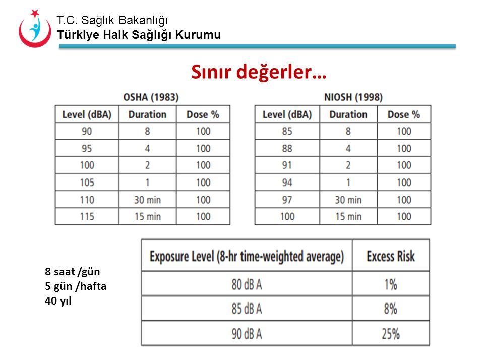 T.C. Sağlık Bakanlığı Türkiye Halk Sağlığı Kurumu Sınır değerler… 8 saat /gün 5 gün /hafta 40 yıl