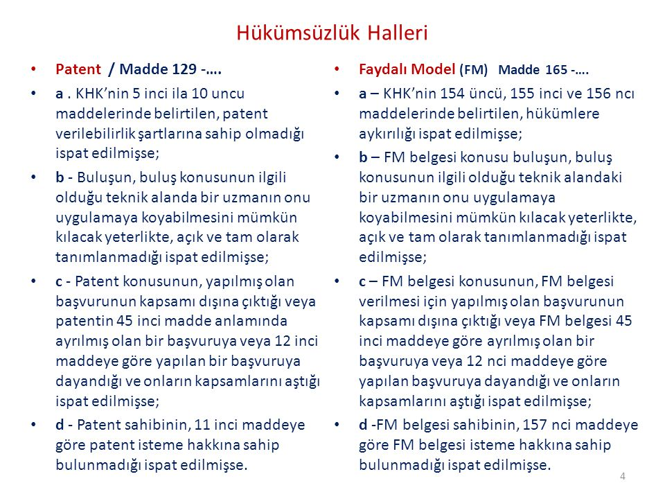 Hükümsüzlük Halleri Patent / Madde 129 -…. a. KHK'nin 5 inci ila 10 uncu maddelerinde belirtilen, patent verilebilirlik şartlarına sahip olmadığı ispa