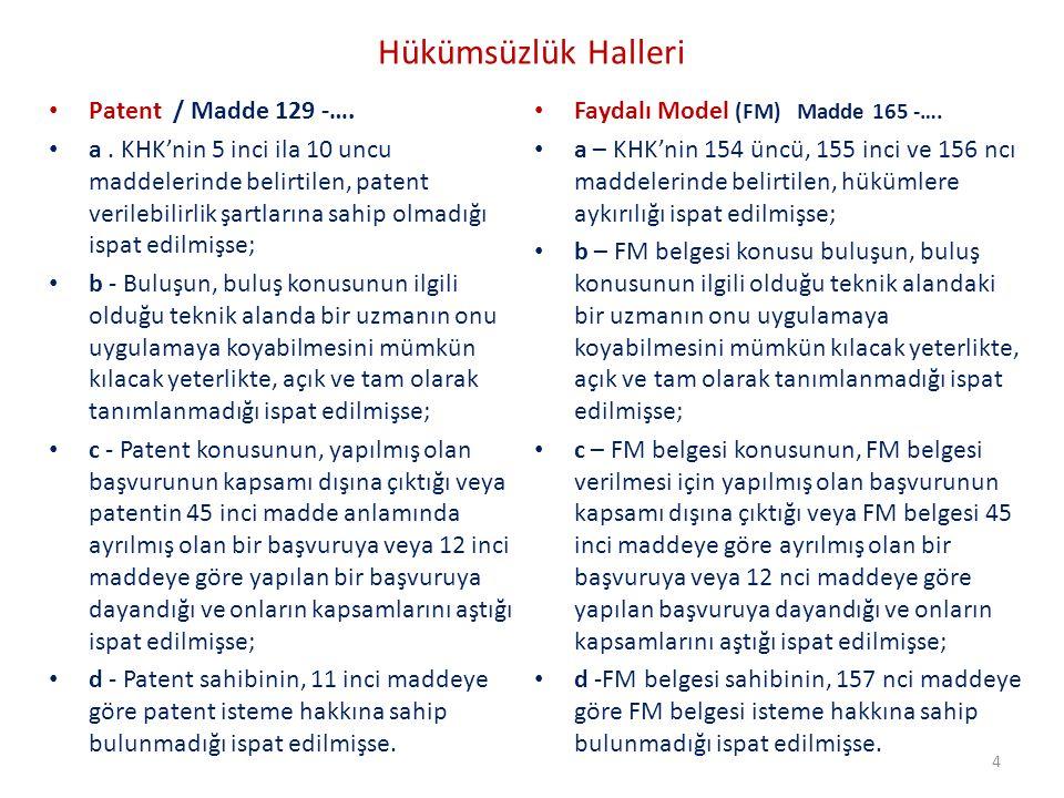 Hükümsüzlük Halleri Patent / Madde 129 -….a.