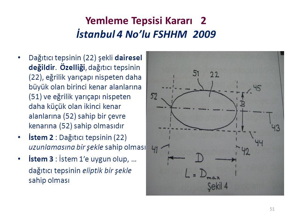 Yemleme Tepsisi Kararı 2 İstanbul 4 No'lu FSHHM 2009 Dağıtıcı tepsinin (22) şekli dairesel değildir. Özelliği, dağıtıcı tepsinin (22), eğrilik yarıçap