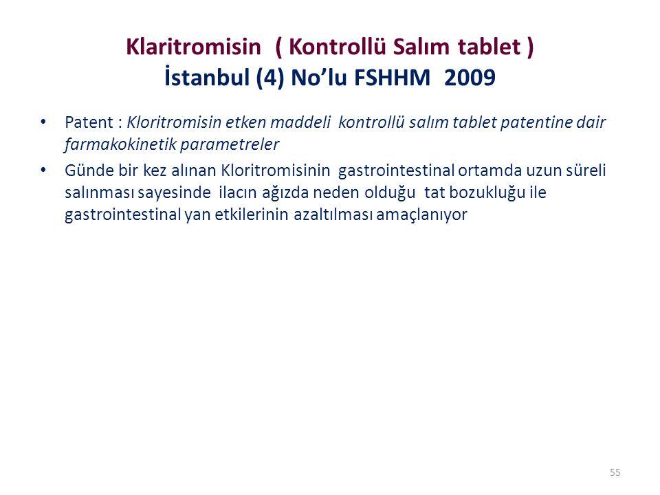 Klaritromisin ( Kontrollü Salım tablet ) İstanbul (4) No'lu FSHHM 2009 Patent : Kloritromisin etken maddeli kontrollü salım tablet patentine dair farmakokinetik parametreler Günde bir kez alınan Kloritromisinin gastrointestinal ortamda uzun süreli salınması sayesinde ilacın ağızda neden olduğu tat bozukluğu ile gastrointestinal yan etkilerinin azaltılması amaçlanıyor 55