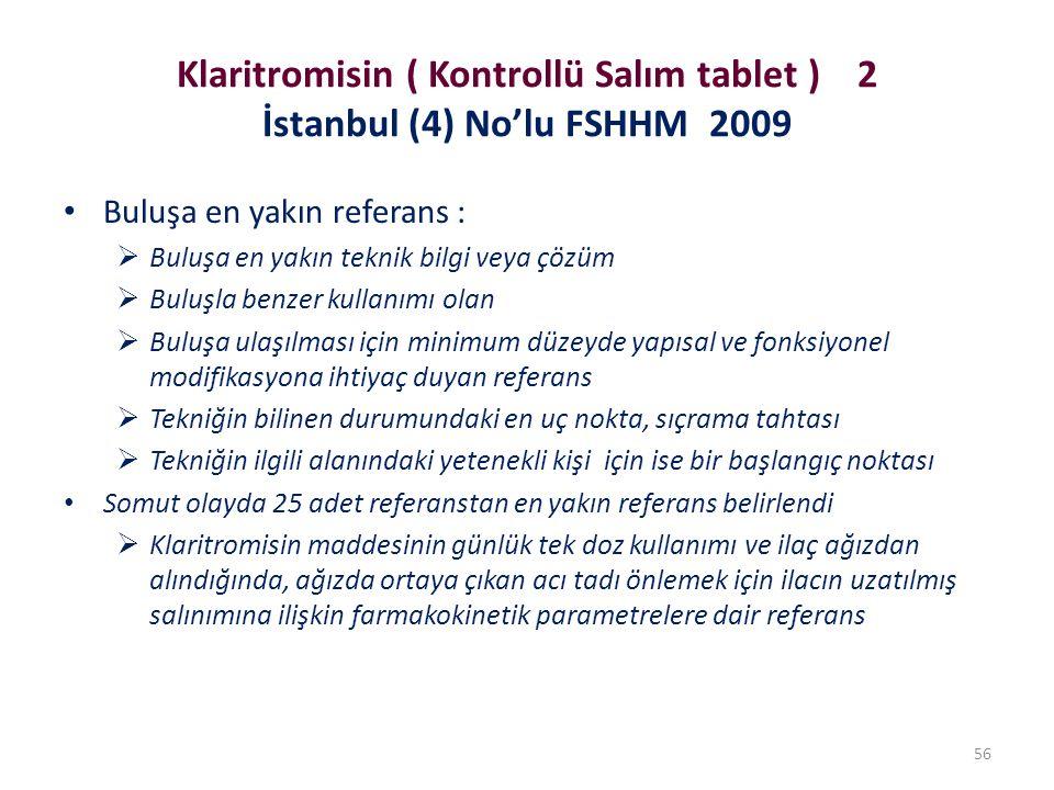 Klaritromisin ( Kontrollü Salım tablet ) 2 İstanbul (4) No'lu FSHHM 2009 Buluşa en yakın referans :  Buluşa en yakın teknik bilgi veya çözüm  Buluşla benzer kullanımı olan  Buluşa ulaşılması için minimum düzeyde yapısal ve fonksiyonel modifikasyona ihtiyaç duyan referans  Tekniğin bilinen durumundaki en uç nokta, sıçrama tahtası  Tekniğin ilgili alanındaki yetenekli kişi için ise bir başlangıç noktası Somut olayda 25 adet referanstan en yakın referans belirlendi  Klaritromisin maddesinin günlük tek doz kullanımı ve ilaç ağızdan alındığında, ağızda ortaya çıkan acı tadı önlemek için ilacın uzatılmış salınımına ilişkin farmakokinetik parametrelere dair referans 56