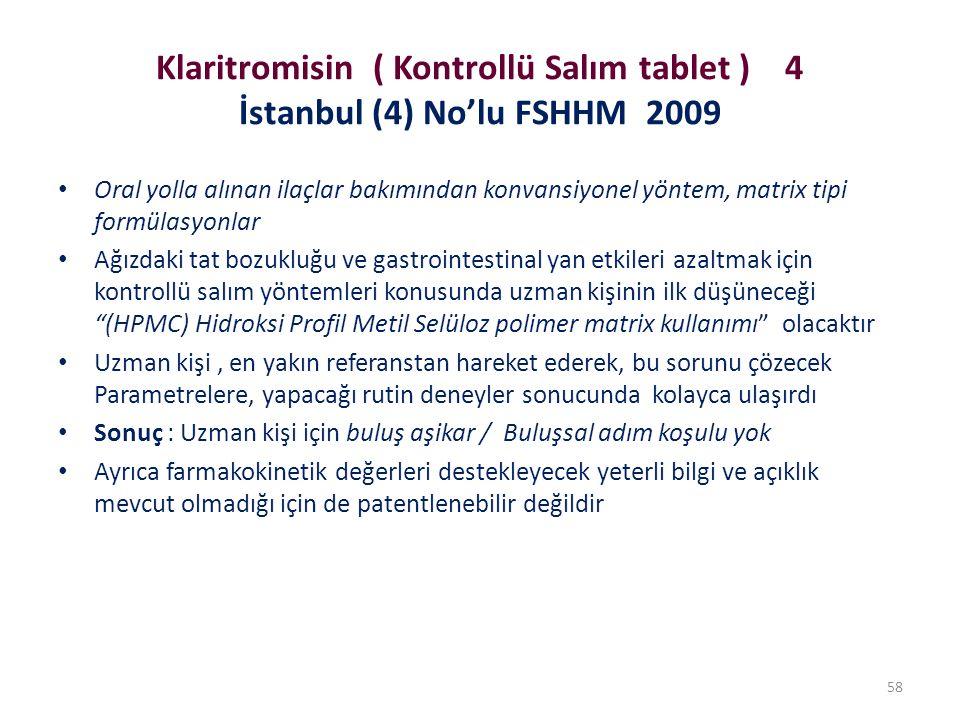 Klaritromisin ( Kontrollü Salım tablet ) 4 İstanbul (4) No'lu FSHHM 2009 Oral yolla alınan ilaçlar bakımından konvansiyonel yöntem, matrix tipi formül