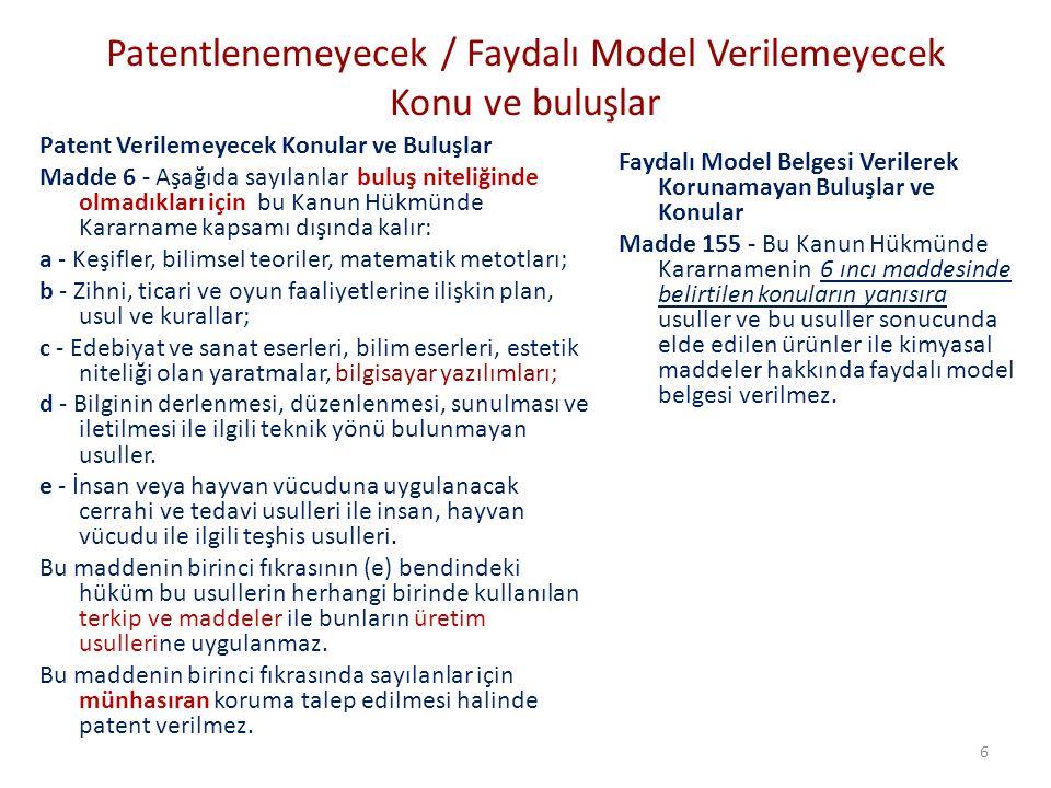 Patentlenemeyecek / Faydalı Model Verilemeyecek Konu ve buluşlar Patent Verilemeyecek Konular ve Buluşlar Madde 6 - Aşağıda sayılanlar buluş niteliğin