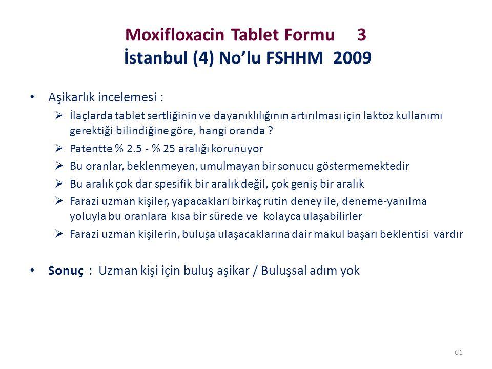 Moxifloxacin Tablet Formu 3 İstanbul (4) No'lu FSHHM 2009 Aşikarlık incelemesi :  İlaçlarda tablet sertliğinin ve dayanıklılığının artırılması için l