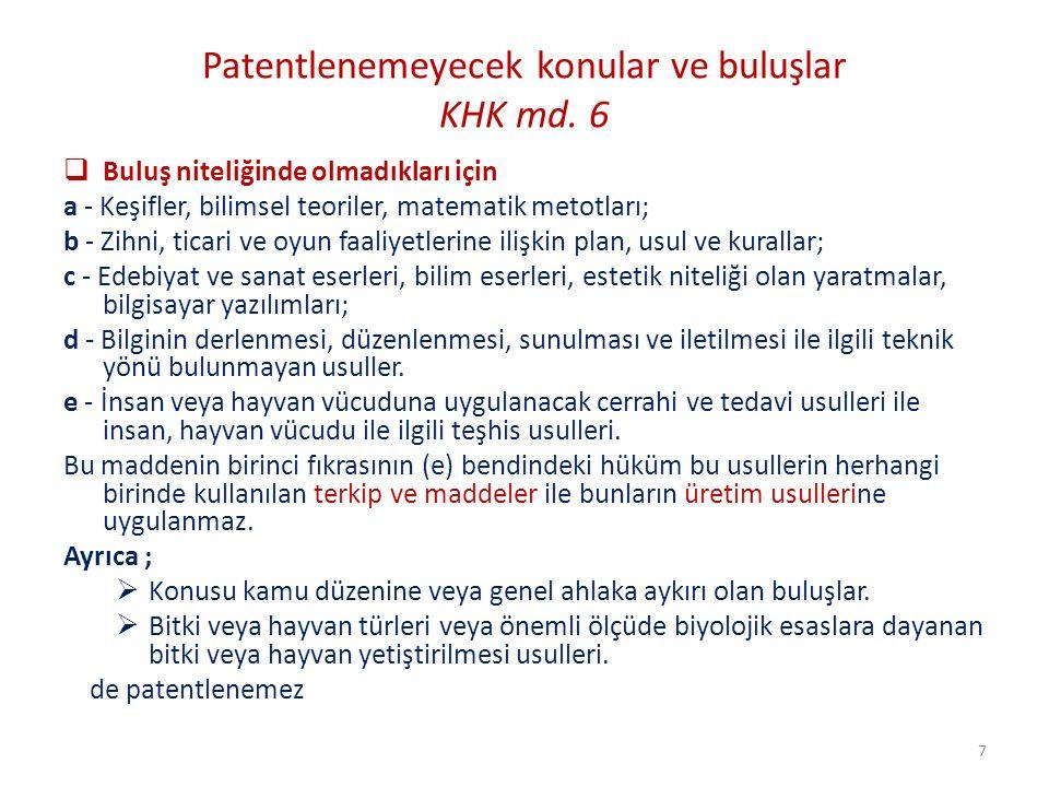 Klaritromisin ( Kontrollü Salım tablet ) 4 İstanbul (4) No'lu FSHHM 2009 Oral yolla alınan ilaçlar bakımından konvansiyonel yöntem, matrix tipi formülasyonlar Ağızdaki tat bozukluğu ve gastrointestinal yan etkileri azaltmak için kontrollü salım yöntemleri konusunda uzman kişinin ilk düşüneceği (HPMC) Hidroksi Profil Metil Selüloz polimer matrix kullanımı olacaktır Uzman kişi, en yakın referanstan hareket ederek, bu sorunu çözecek Parametrelere, yapacağı rutin deneyler sonucunda kolayca ulaşırdı Sonuç : Uzman kişi için buluş aşikar / Buluşsal adım koşulu yok Ayrıca farmakokinetik değerleri destekleyecek yeterli bilgi ve açıklık mevcut olmadığı için de patentlenebilir değildir 58