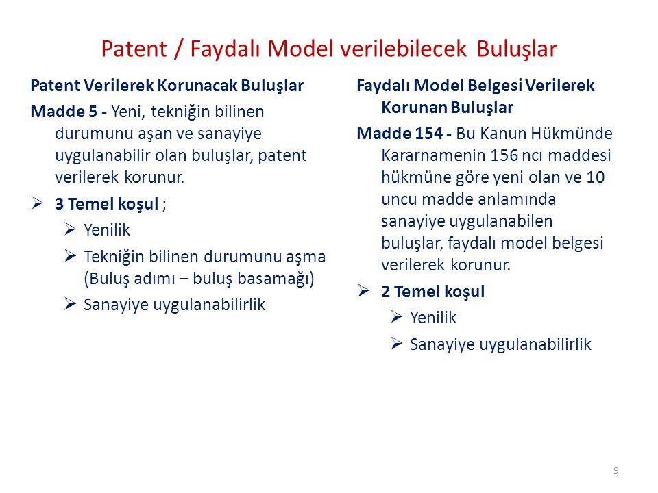 Patent / Faydalı Model verilebilecek Buluşlar Patent Verilerek Korunacak Buluşlar Madde 5 - Yeni, tekniğin bilinen durumunu aşan ve sanayiye uygulanab