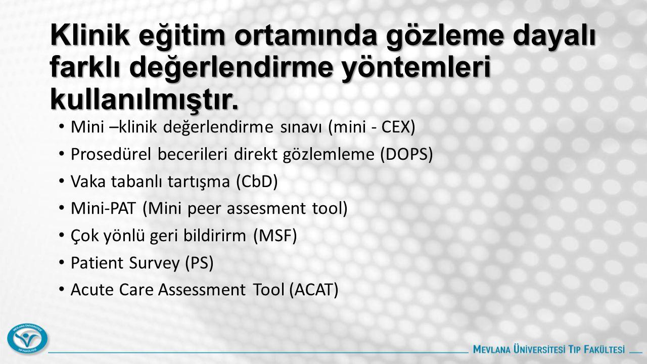 Klinik eğitim ortamında gözleme dayalı farklı değerlendirme yöntemleri kullanılmıştır. Mini –klinik değerlendirme sınavı (mini - CEX) Prosedürel becer