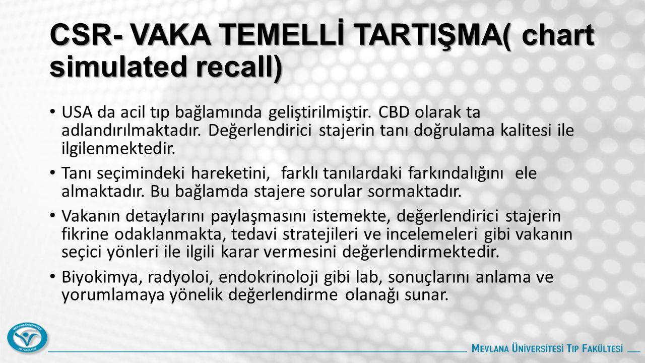 CSR- VAKA TEMELLİ TARTIŞMA( chart simulated recall) USA da acil tıp bağlamında geliştirilmiştir.