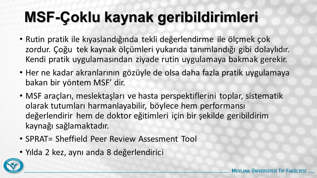 MSF-Çoklu kaynak geribildirimleri Rutin pratik ile kıyaslandığında tekli değerlendirme ile ölçmek çok zordur. Çoğu tek kaynak ölçümleri yukarıda tanım
