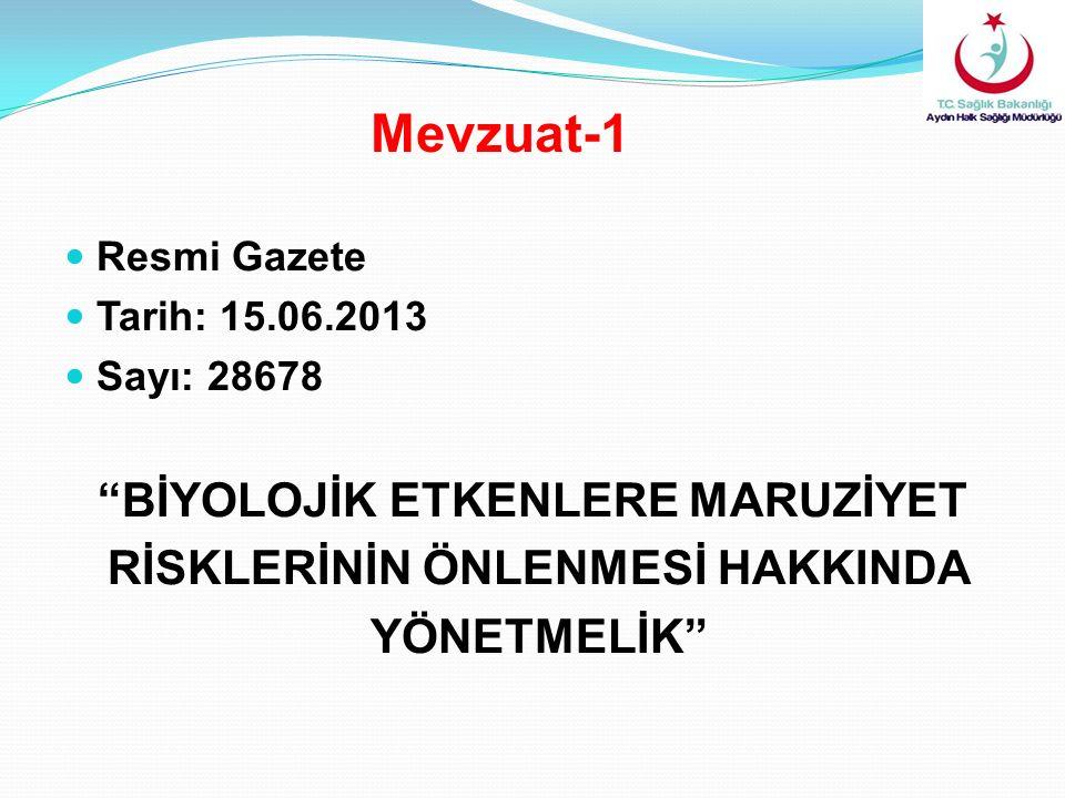 """Resmi Gazete Tarih: 15.06.2013 Sayı: 28678 """"BİYOLOJİK ETKENLERE MARUZİYET RİSKLERİNİN ÖNLENMESİ HAKKINDA YÖNETMELİK"""" Mevzuat-1"""