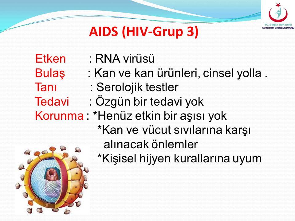 AIDS (HIV-Grup 3) Etken : RNA virüsü Bulaş : Kan ve kan ürünleri, cinsel yolla. Tanı : Serolojik testler Tedavi : Özgün bir tedavi yok Korunma : *Henü