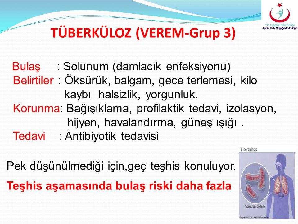 TÜBERKÜLOZ (VEREM-Grup 3) Bulaş : Solunum (damlacık enfeksiyonu) Belirtiler : Öksürük, balgam, gece terlemesi, kilo kaybı halsizlik, yorgunluk. Korunm