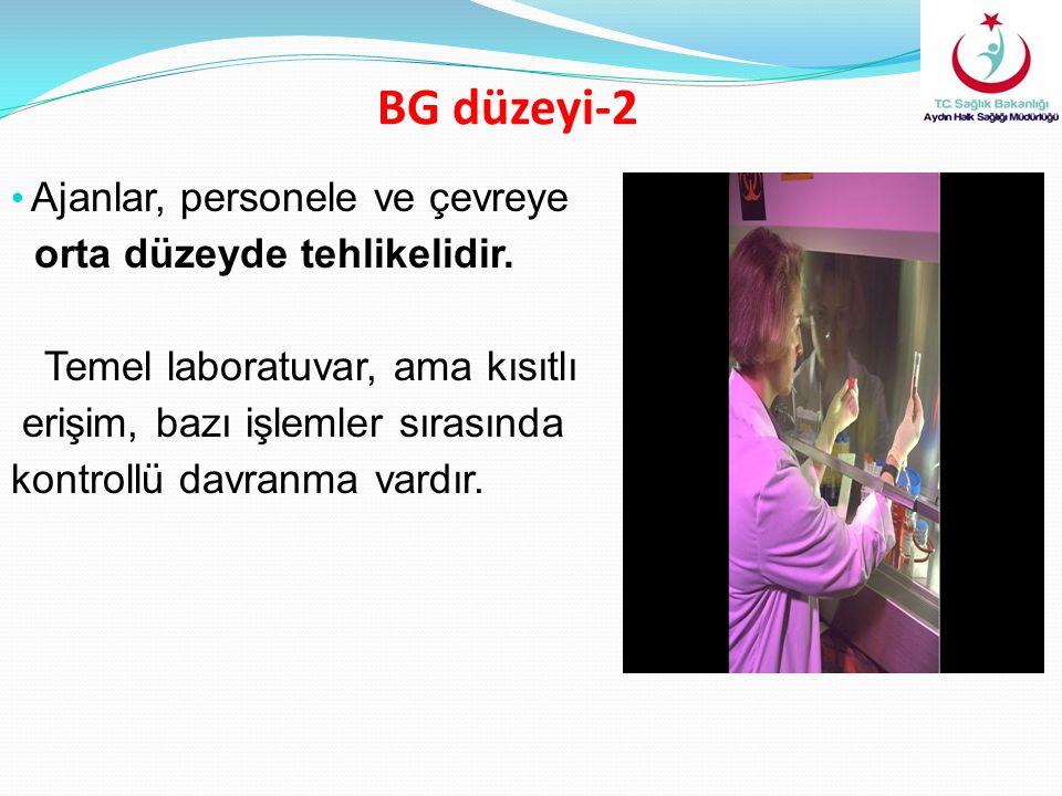 BG düzeyi-2 Ajanlar, personele ve çevreye orta düzeyde tehlikelidir. Temel laboratuvar, ama kısıtlı erişim, bazı işlemler sırasında kontrollü davranma